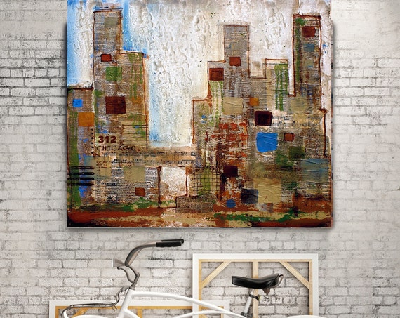 """Chicago 312. Extra Large Architectural Cityscape Rustic Canvas Wall Art print up to 48"""" by Irena Orlov, Chicago canvas Wall Art Decor"""