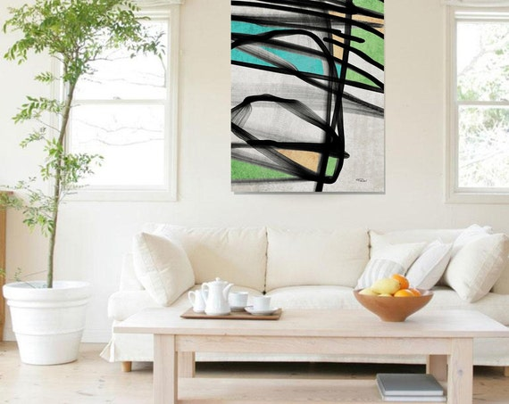 "Simply Radiant. Abstract Paintings Art, Wall Decor, Extra Large Abstract Green Black Canvas Art Print up to 72"" by Irena Orlov"