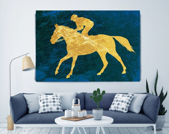 Blue Gold Horse Art, Jockey 2. Extra Large Gold Blue Horse Canvas Art Print, Blue Gold Rustic Horse, Equine Art, Horse Wall Decor, Abstract