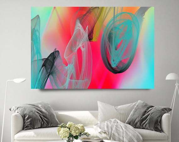 Red Teal Contemporary Wall Art, Office Decoration Vibrant Wall Art Electric Canvas Print, Home Decor, New Media, Color in the Lines 29-102