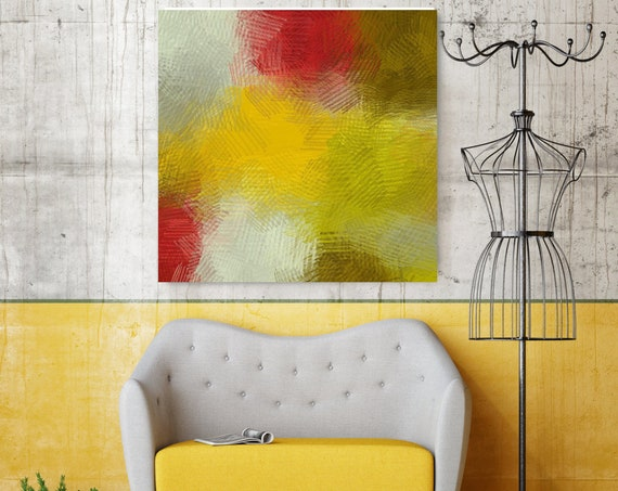 ECO Surface  No 60.  Yellow Red Abstract Canvas Print by Irena Orlov