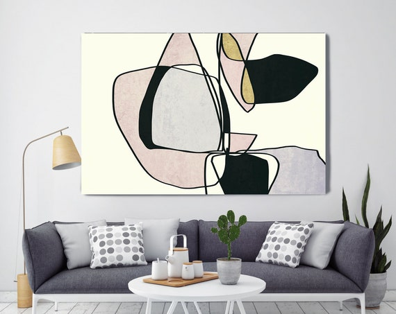 Line Art Modern Pink Black Green Canvas Art Print Scandinavian print Minimalist abstract Wall decor Minimalist Art Abstract Line Art 15