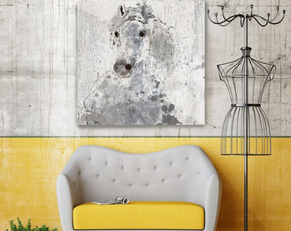 "Silver Sunshine. Large Horse, Unique Horse Wall Decor, Gray Rustic Horse, Large Contemporary Canvas Art Print up to 48"" by Irena Orlov"