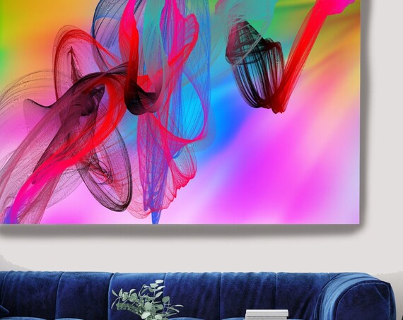 Contemporary Wall Art, Colorful Office Decoration Vibrant Wall Art Electric Canvas Print, Home Decor, New Media, Color in the Lines 29-14
