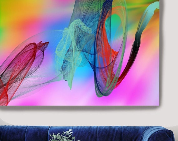 Contemporary Wall Art, Office Decoration Vibrant Wall Art Electric Canvas Print, Home Decor, New Media, Color in the Lines 29-14