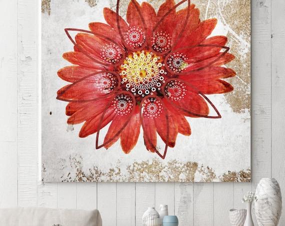 "Casablanca. Floral Rustic Canvas Art Print up to 48"", Large Floral Canvas Art Print, Red White Floral Canvas Print by Irena Orlov"