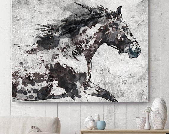 Bay Horse 4| Horse Painting | Giclee on Canvas | Farm Animal | Horse Art| Rustic Horse | Horse Canvas | Abstract Horse