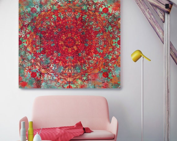 "Red Green Moroccan pattern I. Geometrical Red Abstract Art, Wall Decor, Large Abstract Colorful Canvas Art Print up to 48"" by Irena Orlov"