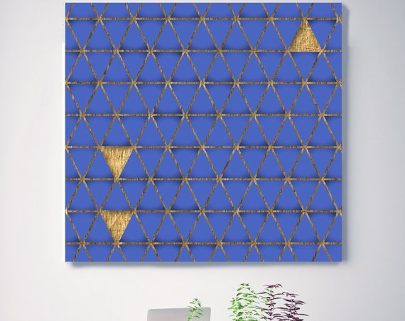 "Blue and Gold 9, Extra Large Industrial Geometrical Blue Gold Canvas Art Print Wall Decor, Modern Wall Art up to 48"" by Irena Orlov"