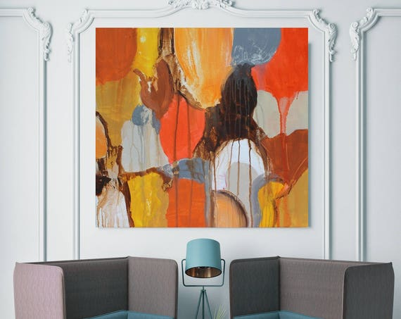 "Color Shapes. Yellow Orange Abstract Art, Wall Decor, Extra Large Abstract Colorful Contemporary Canvas Art Print up to 48"" by Irena Orlov"