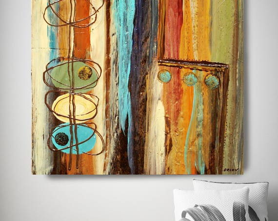 """In the Mix. Brown Blue Abstract Art, Wall Decor, Extra Large Abstract Colorful Contemporary Canvas Art Print up to 48"""" by Irena Orlov"""