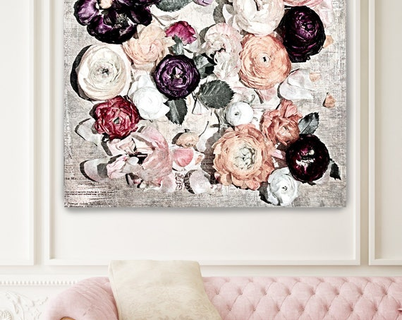 "Romantic Shabby Chic Flowers 8. Rustic Floral Painting, Pink Purple White Rustic Large Floral Canvas Art Print up to 48"" by Irena Orlov"