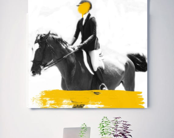 "Female Rider 5-2. Large Horse, Unique Horse Wall Decor, White Black Yellow Horse Photography, Large Contemporary Canvas up to 48"" by Orlov"