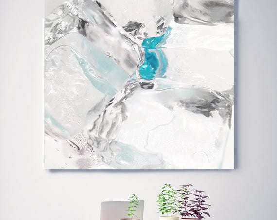 "Blue Ice. Abstract White and Blue Photography Canvas Print, Large Abstract Contemporary Photography Canvas Print up to 48"" by Irena Orlov"