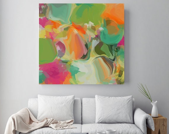 Abstract Paintings, Contemporary Art, Canvas Art, Abstract Print, Art Prints, Prints Wall Art, Large Wall Art, Green Orange Painting Print