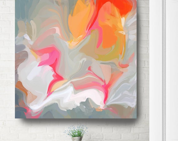Abstract Grey Orange Print | Painting Print | Large Wall Art | Large Abstract Canvas | Large Vibrant Print | Painting Art. Different colors