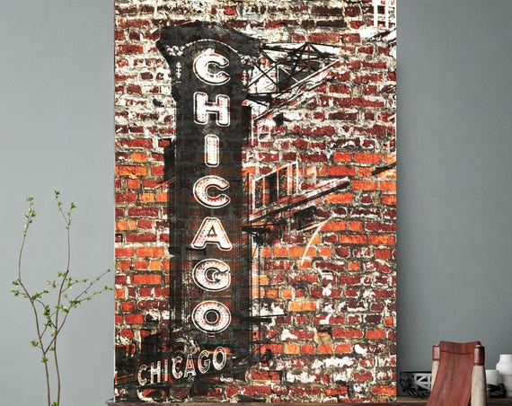 "Chicago 2, Extra Large Rustic Architectural Cityscape Canvas Art Print. Rustic Terracotta URBAN Canvas Art Print up to 80"" by Irena Orlov"