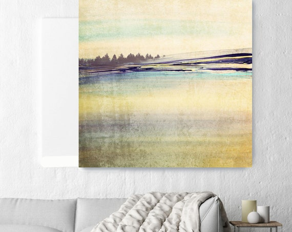 "Horizon. Huge Rustic Landscape Painting Canvas Art Print, Extra Large Green Blue Yellow Canvas Art Print up to 50"" by Irena Orlov"
