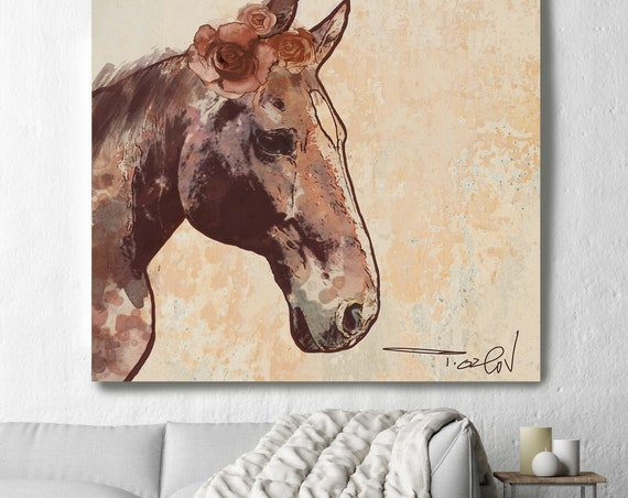 Rosie Horse 3. Large Horse, Farmhouse Horse Wall Decor, Brown  Rustic Horse, Large Contemporary Canvas Art Print, Equine Painting Decor