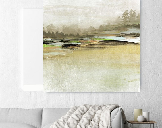 "Distant Forest. Huge Rustic Landscape Painting Canvas Art Print, Extra Large Green Brown Blue Canvas Art Print up to 50"" by Irena Orlov"
