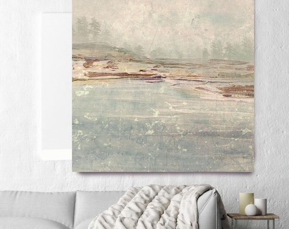 "Winter time. Huge Rustic Landscape Painting Canvas Art Print, Extra Large Blue Brown Green Canvas Art Print up to 50"" by Irena Orlov"