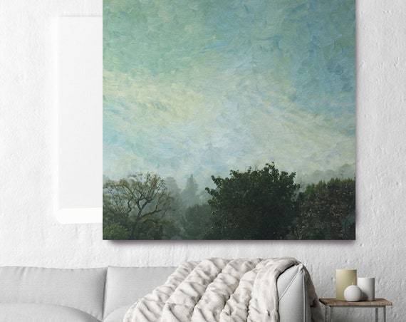 "Huge Rustic Landscape Painting Canvas Art Print, Extra Large Green Blue Canvas Art Print up to 50"" by Irena Orlov"