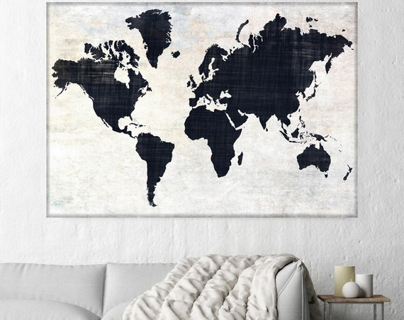 Huge world map, Executive gift, Rustic map, Industrial art, Cottage wall, Vintage Map, Map canvas art print, Black White Map,Antique Map