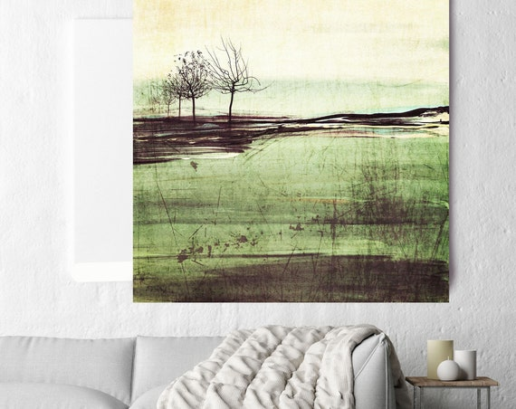 "Romance at Sunset. Huge Rustic Landscape Painting Canvas Art Print, Extra Large Green Yellow Brown Canvas Art Print up to 50"" by Irena Orlov"