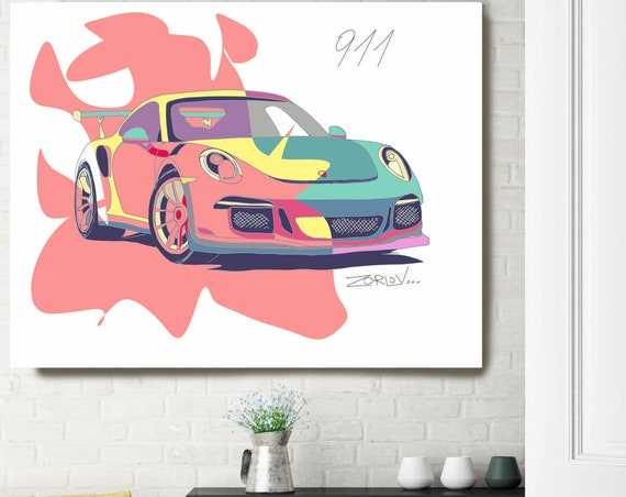 "Pink Porsche, Porsche art print Large Pink Green Porsche Painting Canvas Art Print, Kids Wall Decor, Car Wall Decor up to 72"" by Zeev Orlov"