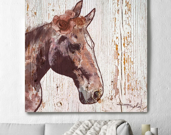 Large Horse, Farmhouse Horse Wall Decor, Brown Rustic Horse, Large Contemporary Canvas Art Print, Rosie Horse 3, Horse Portrait Art, Equine