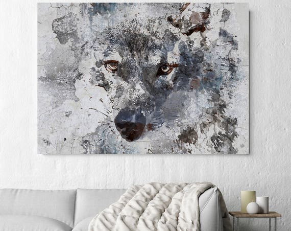"Zidane Blue Wolf. Extra Large Wolf Canvas, Unique Wolf Wall Decor, Brown Blue Rustic Wolf Canvas Art Print up to 72"" by Irena Orlov"