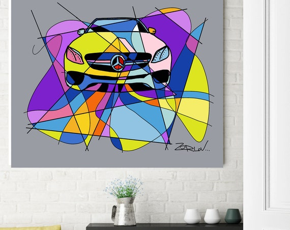 "Colorful Mercedes, Mercedes art print. Purple Mercedes Painting Canvas Art Print, Kids Wall Decor, Cars Wall Decor up to 72"" by Zeev Orlov"