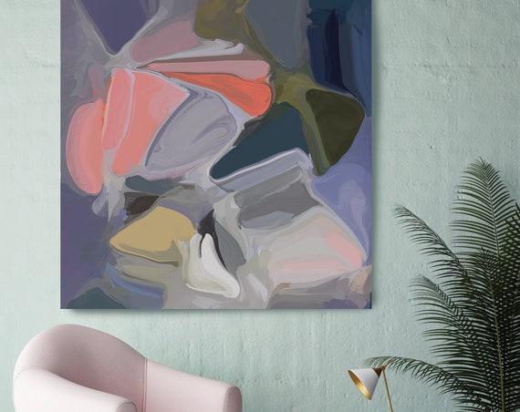 External reality Blue Coral Wall Art | Original Painting| Abstract Blue Wall Art | Blue Art | Blue Wall Decor | Ready to Hang Canvas Print