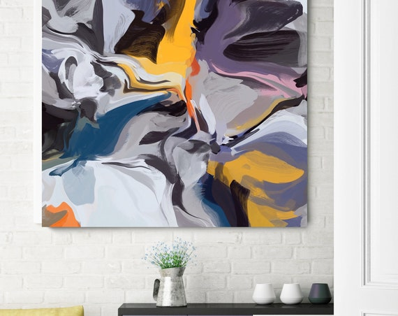 """Independence of Reality, Blue Purple Yellow Abstract Canvas Art Print up to 50"""", Purple Yellow Abstract Canvas Art Print by Irena Orlov"""