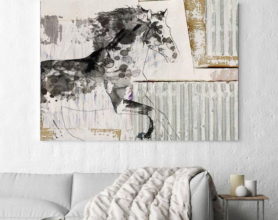 Urban Horse. Extra Large Horse, Horse Wall Decor, Brown Rustic Horse, Large Contemporary Canvas Art Print, Abstract Horse, Equine Painting