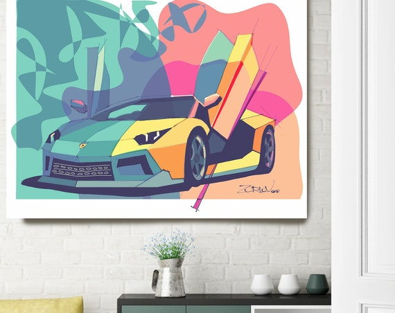 "Lamborghini, Lamborghini art print. Large Pink Teal Lamborghini Painting Canvas Art Print, Cars Wall Decor up to 72"" by Zeev Orlov"