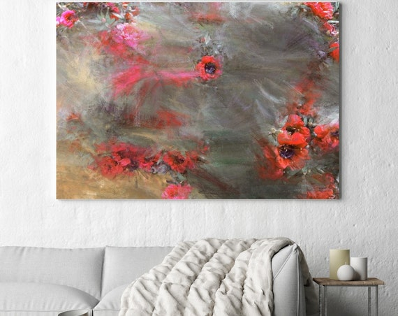 "A field of flowers all around. Floral Painting, Red Abstract Art, Abstract Colorful Contemporary Canvas Art Print up to 72"" by Irena Orlov"