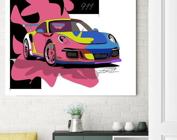 "Porsche, Porsche art print. Large Red Blue Porsche Painting Canvas Art Print, Kids Wall Decor, Cars Wall Decor up to 72"" by Zeev Orlov"