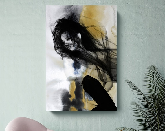 "Yellow Explosion, Figurative Mixed Media Contemporary Yellow Black Woman Canvas Art Print up to 72"" by Irena Orlov"