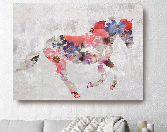 Colorful Floral Horse Painting Horse Mixed Media Painting Canvas Print BOHO Horse Floral Horse Art Large Canvas, Painted Horse Boho Wall Art