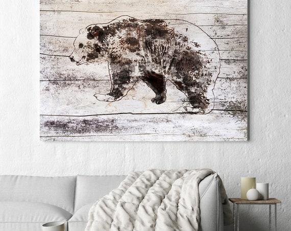 "Walking Bear. Bear Art Large Canvas, Bear Art, Black Brown Rustic Bear, Rustic Vintage Bear Wall Art Print up to 81"" by Irena Orlov"