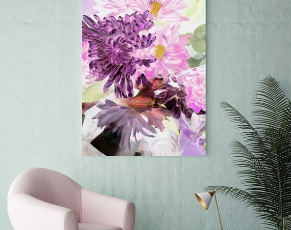 """Sparkling Flowers. Floral Painting, Green Pink Lavender, Pink Green Flower Canvas Art Print up to 72"""" by Irena Orlov"""