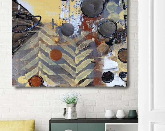 "Geometric Abstraction JW24. Yellow Grey Geometrical Abstract Art, Extra Large Abstract Colorful Canvas Art Print up to 48"" by Irena Orlov"