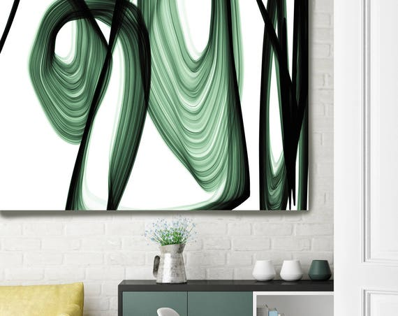 "ORL-7119-2 Abstract Expressionism in Green 9. Unique Green Abstract Wall Decor, Large Contemporary Canvas Art Print up to 72"" by Irena Orlov"