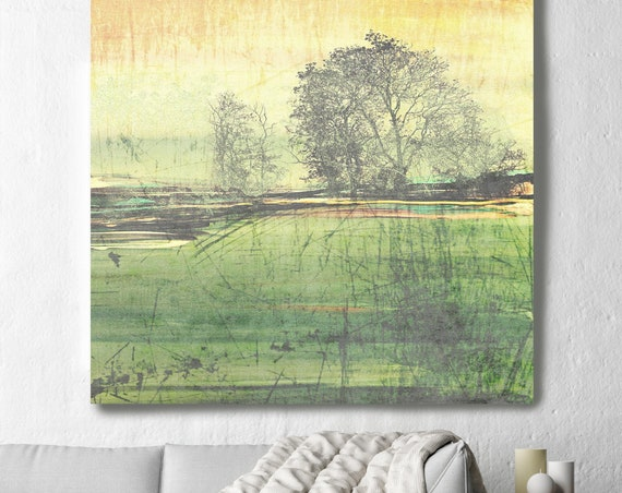"Change of Seasons. Huge Rustic Landscape Painting Canvas Art Print, Extra Large Green Yellow Canvas Art Print up to 50"" by Irena Orlov"