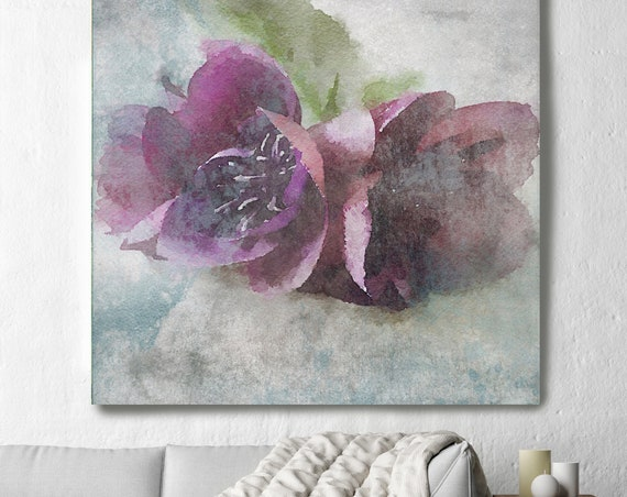 "Purple Sensation 10. Rustic Floral Painting, Green Turquoise Lavender Rustic Large Floral Canvas Art Print up to 48"" by Irena Orlov"
