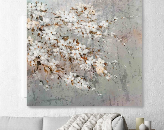 Branches of Cherry Blossoms at Spring. Shabby Chic Rustic Floral Painting, White Gray Rustic Large Floral Canvas Art Print, Vintage Floral