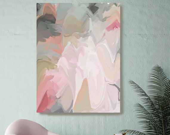 Aesthetic 3, Green Pink Pastel Colors Art, Abstract painting, Neutral colors painting, modern art, Canvas Art Print, Fluid painting