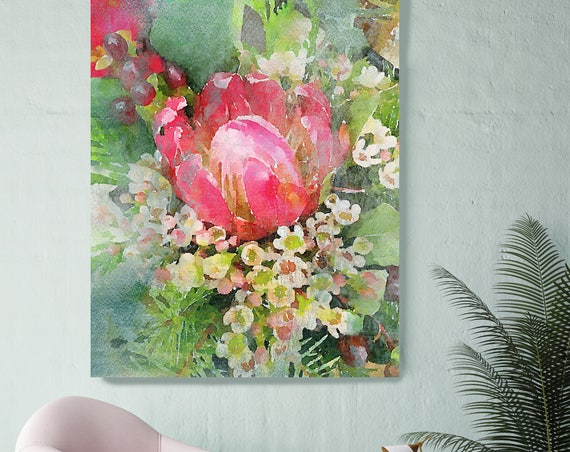 """Art Garden. Floral Painting, Green Red Abstract Art, Rustic Red Green Flower Canvas Art Print up to 72"""" by Irena Orlov"""