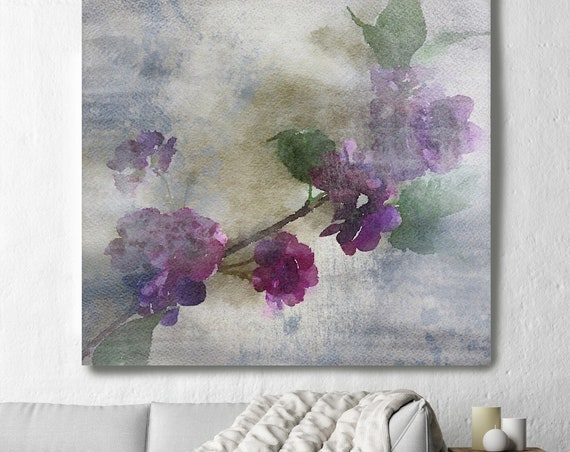"Purple Sensation 8. Rustic Floral Painting, Green Turquoise Lavender Rustic Large Floral Canvas Art Print up to 48"" by Irena Orlov"